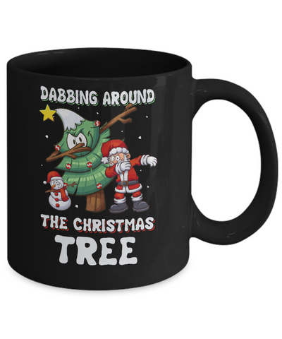 Dabbing Santa Around Christmas Tree Mug Coffee Mug | Teecentury.com