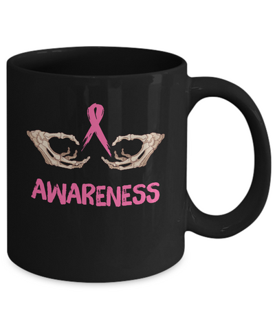 Breast Cancer Skeleton Hand Scary Halloween Mug Coffee Mug | Teecentury.com