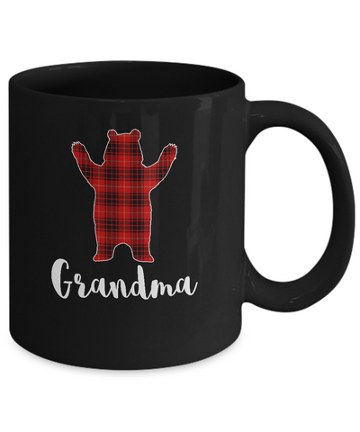 Red Grandma Bear Buffalo Plaid Family Christmas Pajamas Mug Coffee Mug | Teecentury.com