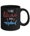 Funny Ocean I Like Wine And Sharks Gift Mug Coffee Mug | Teecentury.com