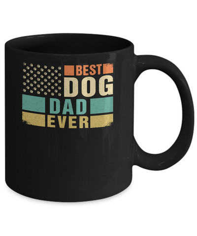 Vintage Retro BEST DOG DAD EVER American Flag Fathers Day Mug Coffee Mug | Teecentury.com