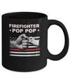 Firefighter Fireman Pop Pop American Flag Fathers Day Mug Coffee Mug | Teecentury.com