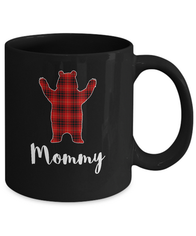 Red Mommy Bear Buffalo Plaid Family Christmas Pajamas Mug Coffee Mug | Teecentury.com