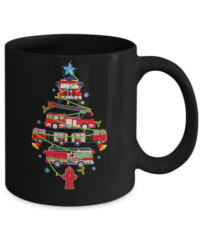 Firefighter Truck Christmas Tree Ornament Decor Gift Mug Coffee Mug | Teecentury.com