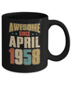 Vintage Retro Awesome Since April 1958 62th Birthday Coffee Mug | Teecentury.com