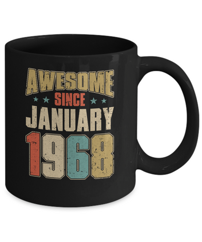 Vintage Retro Awesome Since January 1968 52th Birthday Coffee Mug | Teecentury.com