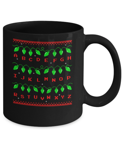 Stranger Ugly Sweater Christmas Lights 8 Bit Mug Coffee Mug | Teecentury.com