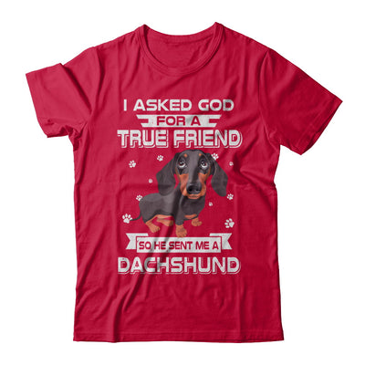 I Asked God For A True Friend So Sent Me Dachshund Dog T-Shirt & Hoodie | Teecentury.com