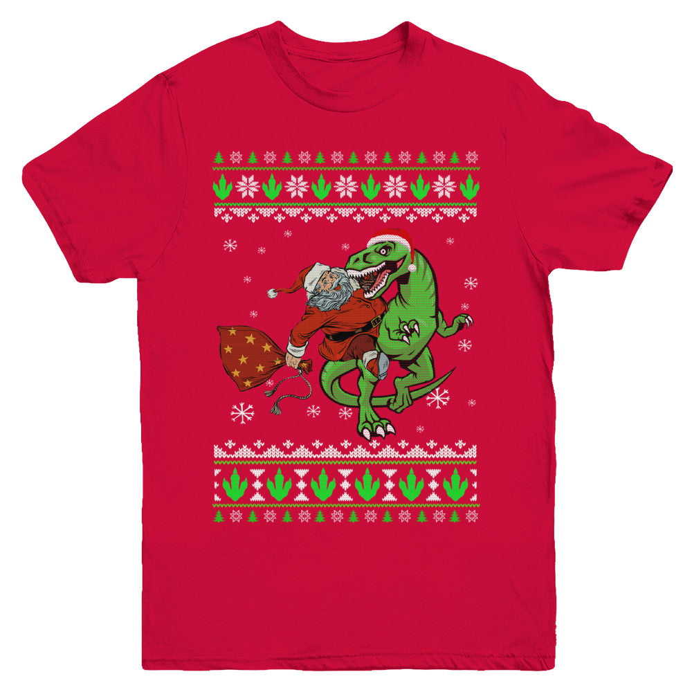 T Rex Ugly Christmas Sweater.Santa Riding Dinosaur T Rex Ugly Christmas Sweater Youth Shirt