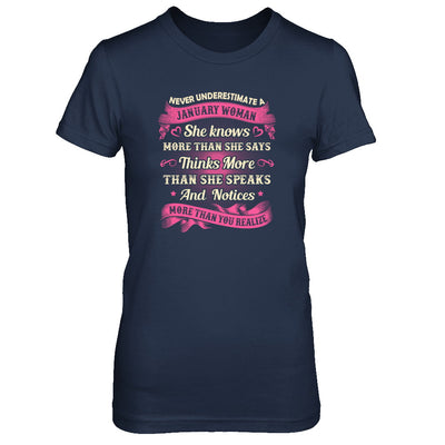 January Woman She Knows More Than She Says Birthday Gift T-Shirt & Tank Top | Teecentury.com
