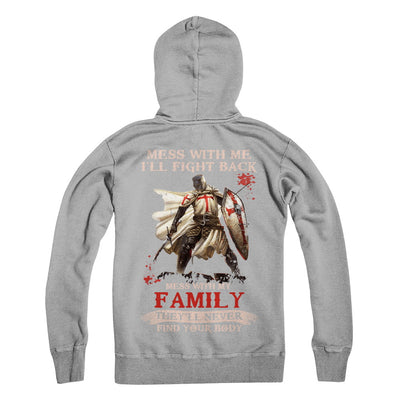 Knight American Mess With Me I'll Fight Back Mess With My Family T-Shirt & Hoodie | Teecentury.com