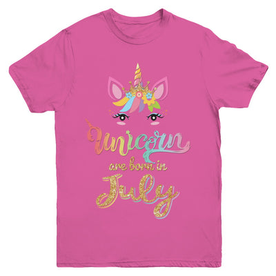 Cute Unicorns Are Born In July Birthday Gift Youth Youth Shirt | Teecentury.com