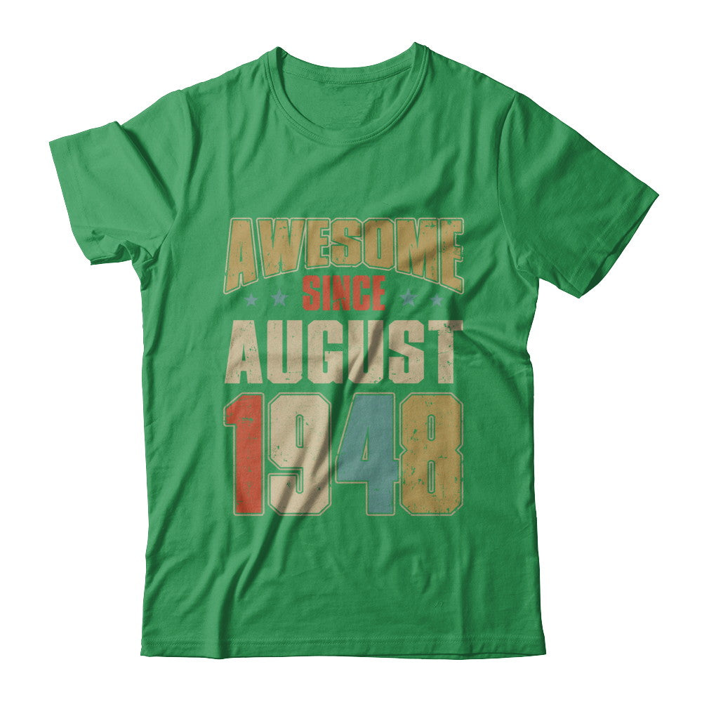 Vintage Retro Awesome Since August 1948 71Th Birthday Shirt