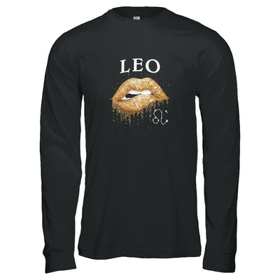 Leo Zodiac July August Birthday Gift Golden Lipstick T-Shirt & Tank Top | Teecentury.com