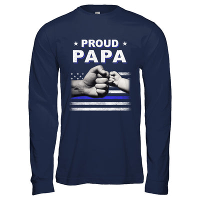 Proud Papa Police Thin Blue Line Flag Fathers Day T-Shirt & Hoodie | Teecentury.com