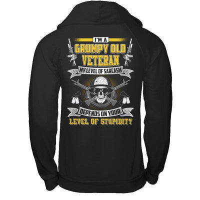 I'm A Grumpy Old Veteran My Level Of Sarcasm T-Shirt & Hoodie | Teecentury.com