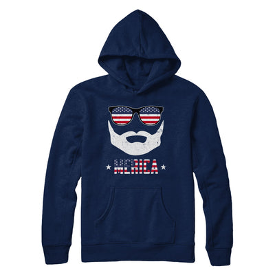 4th of July MERICA America Flag Mustache Dad Bearded T-Shirt & Hoodie | Teecentury.com