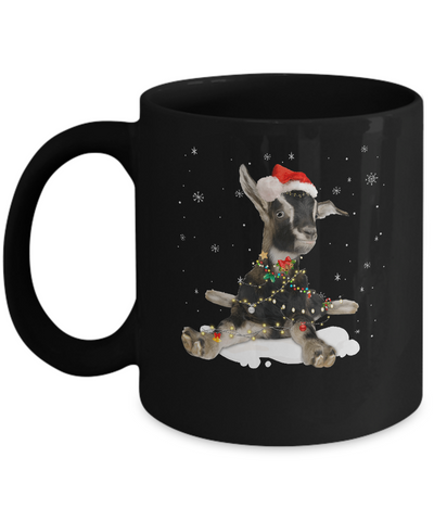 Goat With Santa Hat Lights Christmas Mug Coffee Mug | Teecentury.com