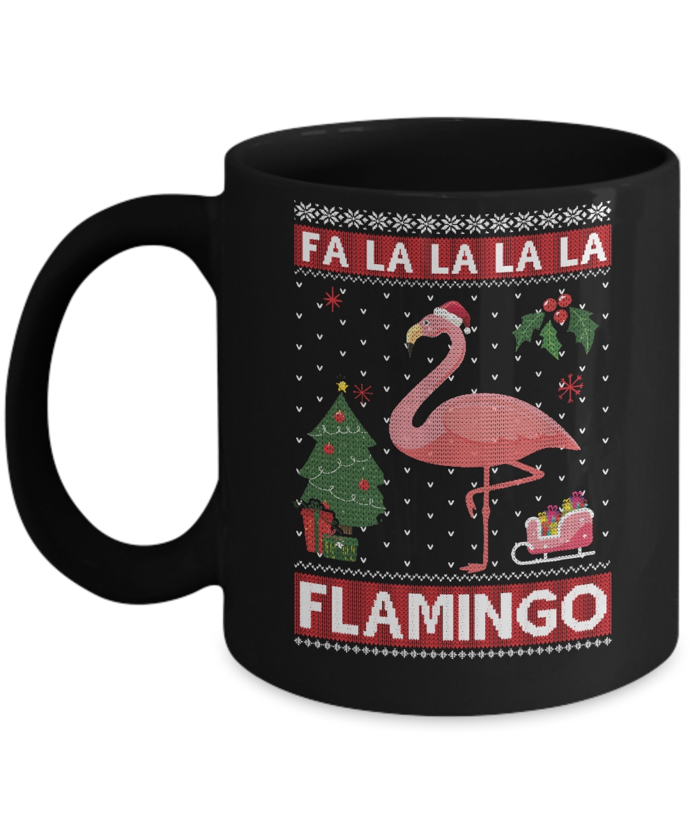 cute pink flamingo santa hat merry christmas sweater mug