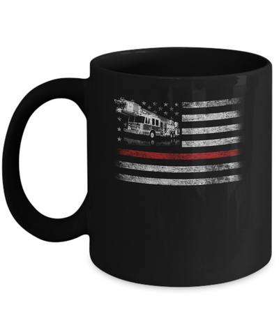 Patriotic Fireman American Flag Thin Red Line Firefighter Mug Coffee Mug | Teecentury.com