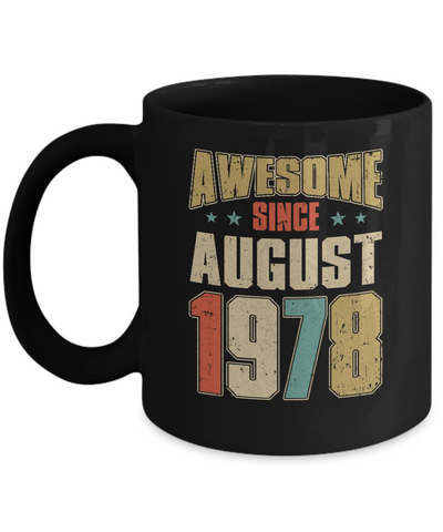 Vintage Retro Awesome Since August 1978 42th Birthday Coffee Mug | Teecentury.com