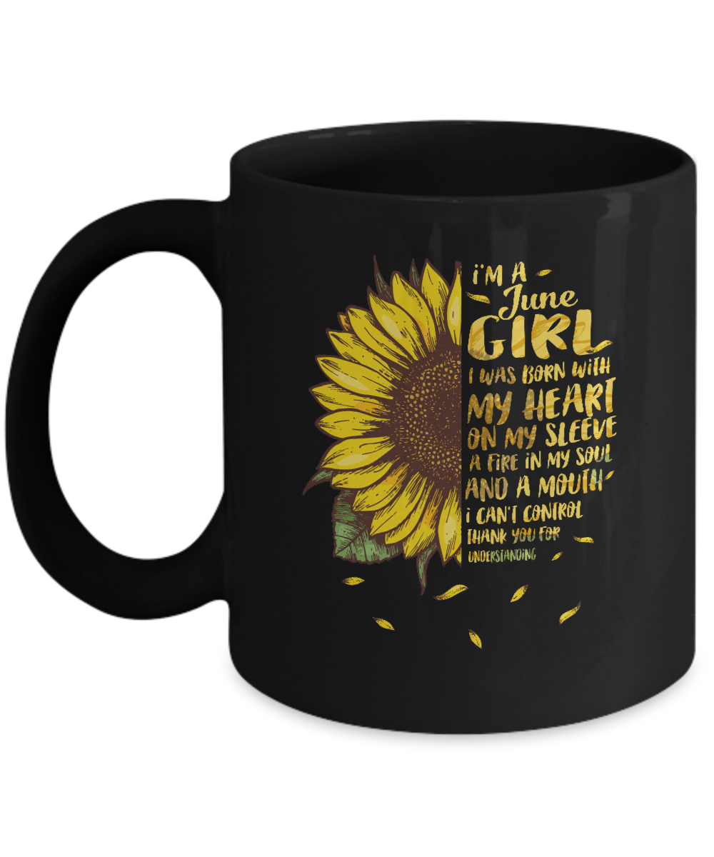 I Am A June Girl Birthday Gifts Sunflower Mug