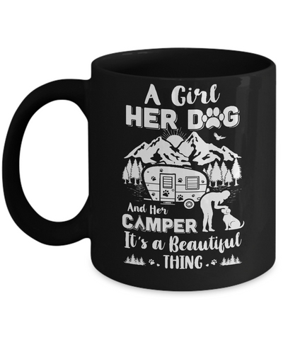 A Girl Her Dog And Her Camper It's A Beautiful Thing Camping Mug Coffee Mug | Teecentury.com