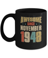 Vintage Retro Awesome Since November 1948 72th Birthday Coffee Mug | Teecentury.com