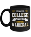 I Survived College Without Becoming A Liberal Mug Coffee Mug | Teecentury.com