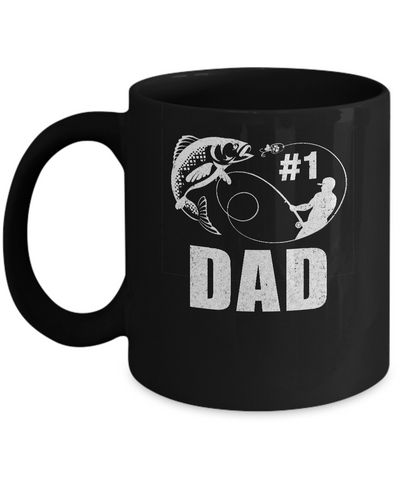 #1 Dad Fishing Fisherman Best Fathers Day Gift Mug Coffee Mug | Teecentury.com