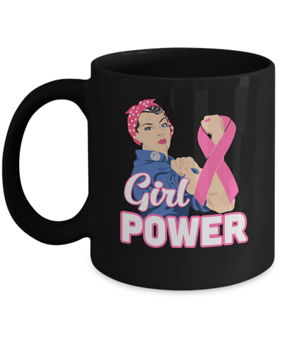 Girl Power Breast Cancer Awareness Month Mug Coffee Mug | Teecentury.com