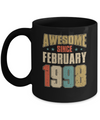 Vintage Retro Awesome Since February 1998 22th Birthday Coffee Mug | Teecentury.com