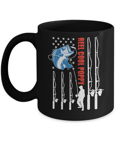 Reel Cool Poppy American Flag Fish Fishing Fathers Day Mug Coffee Mug | Teecentury.com