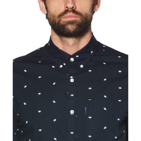 Football Print Shirt - Dark Sapphire, Original Penguin - KALIBER