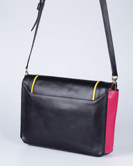 """Linea"" Leather Crossbody Clutch (Black)"