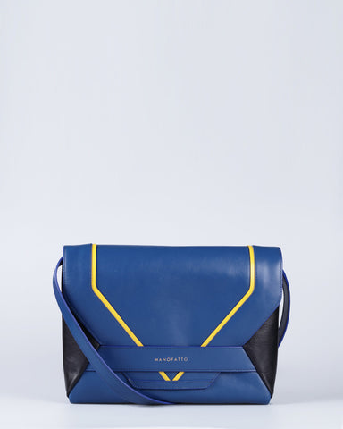 """Linea"" Leather Crossbody Clutch (Blue)"