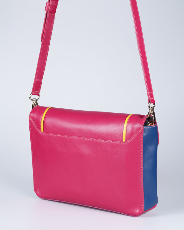 """Linea"" Leather Crossbody Clutch (Pink)"