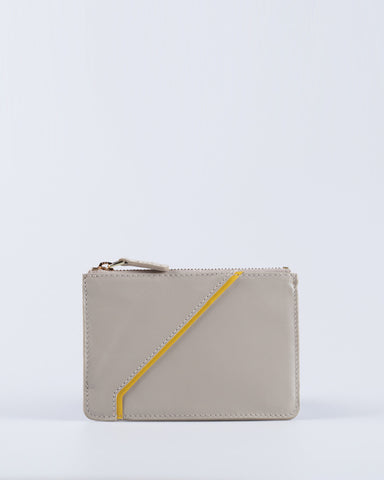 """Linea"" Leather Coin Pouch (Beige)"