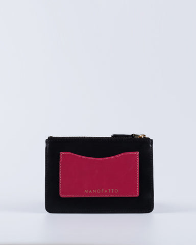 """Linea"" Leather Coin Pouch (Black)"
