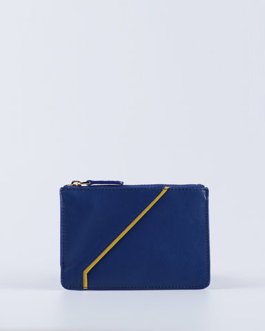 """Linea"" Leather Coin Pouch (Blue)"