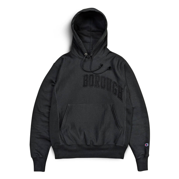 Borough Flock Hoodie x Champion Reverse Weave Black