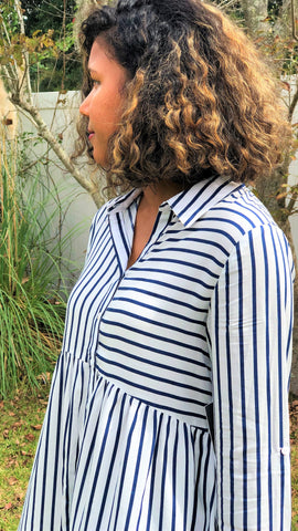 blue and white striped women's button down