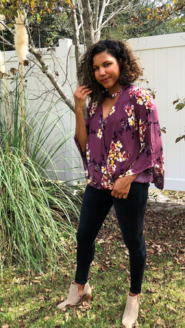 purple floral long-sleeved fall shirt plus size