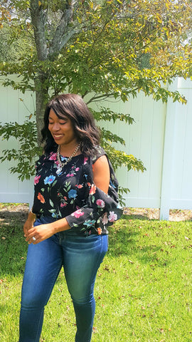 fall floral cold shoulder top