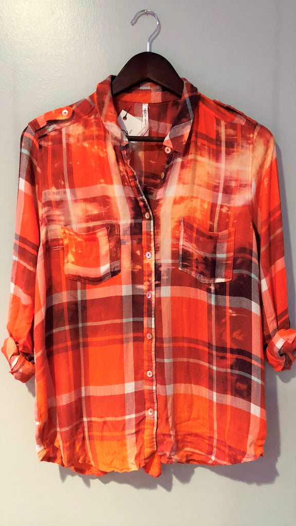 Distressed Flannel Top (in Tomato)