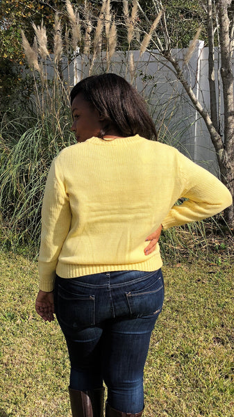 Walking On Sunshine Cable Knit Sweater