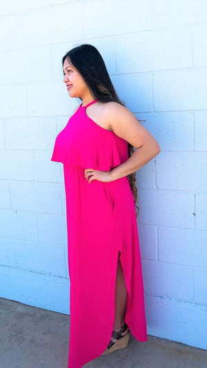 Halter Solid Color Maxi Dress