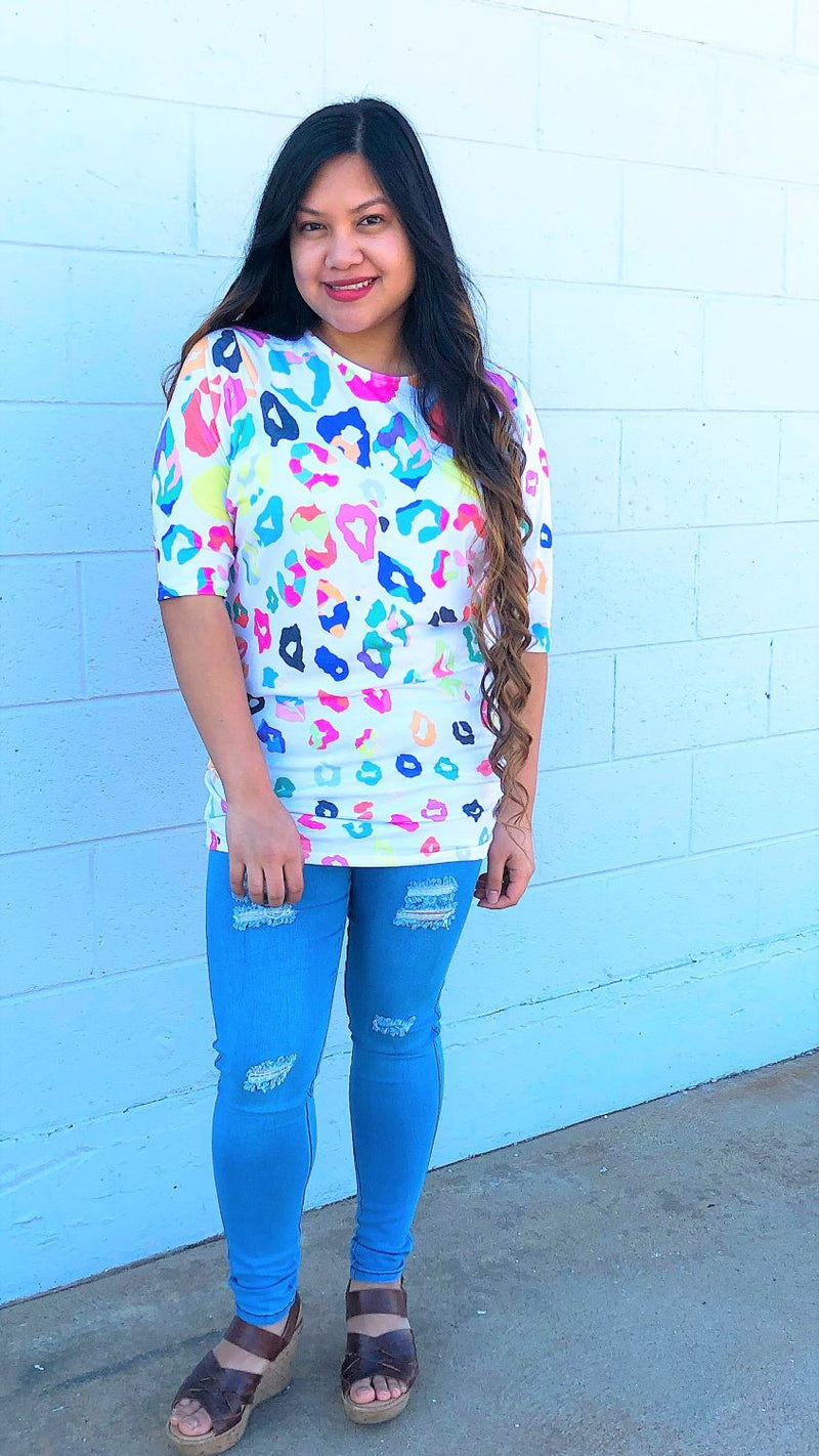 Multi-Color Leopard Print Dolman Sleeve Top