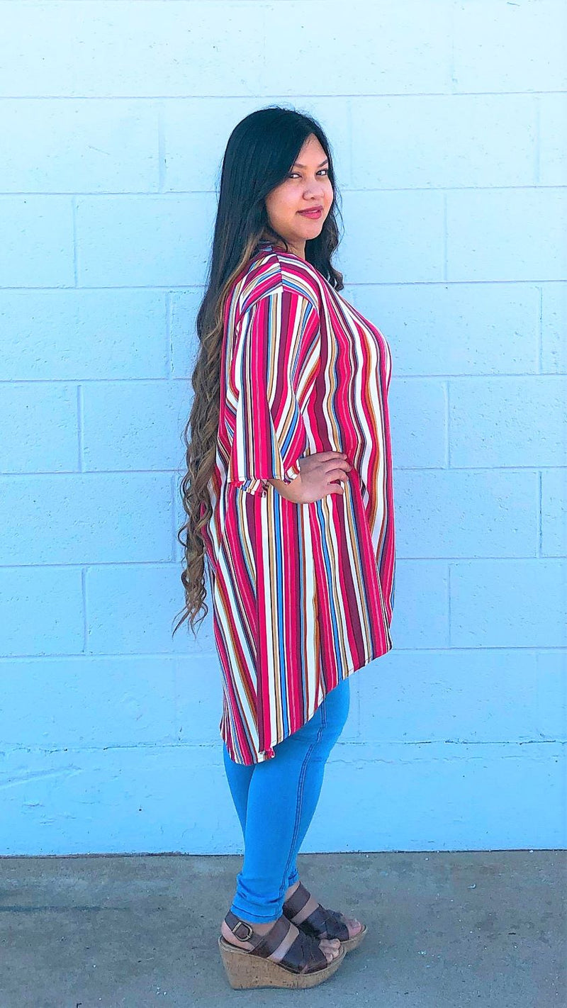 Multi Color Striped Kimono