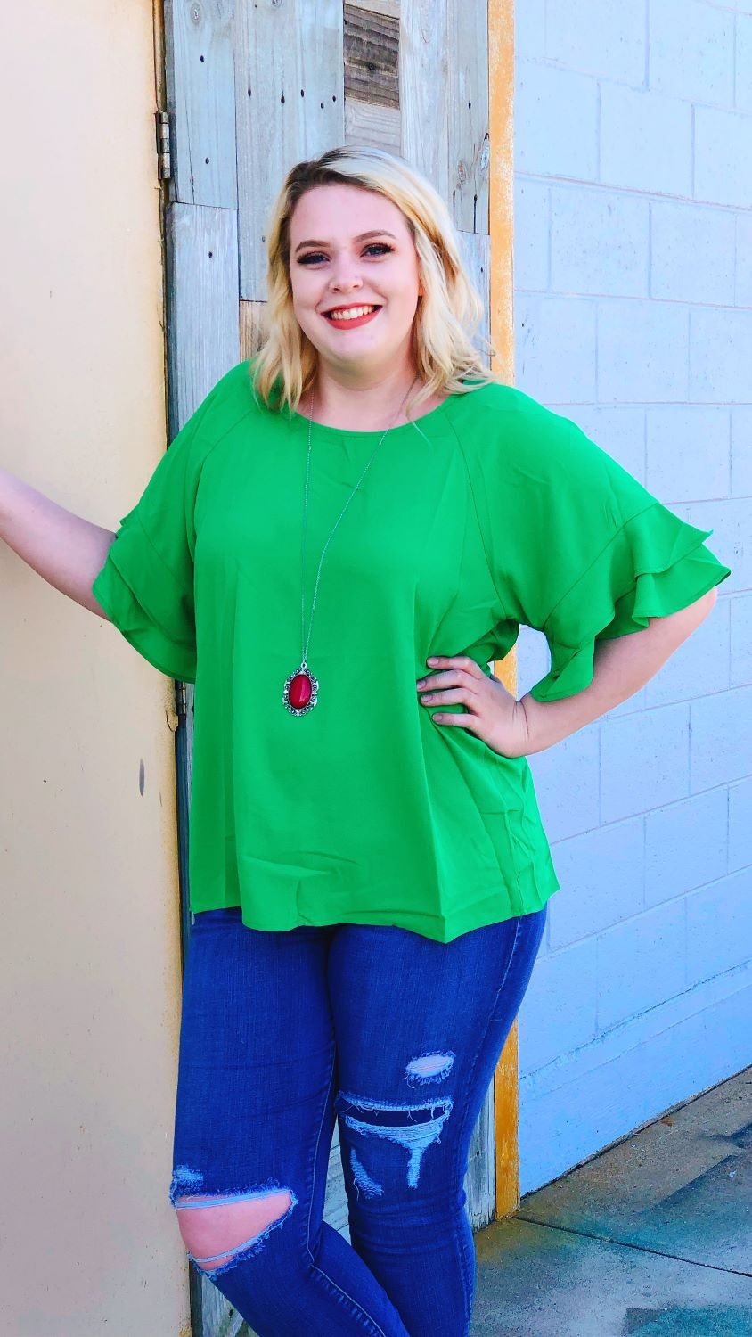 Green Ruffled Sleeve Top (Plus)
